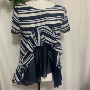 Anthropology, Maeve Top, Navy and white stripe